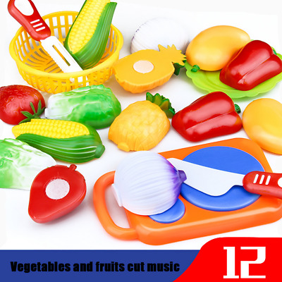 12PC Cutting Multiple Color Fruit Vegetable Pretend Development Kid Baby Toy UK