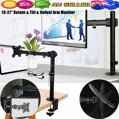 "AU 13-27"" Single Arm Monitor LED LCD Screen VESA Bracket Stand Desk Mount Holder"