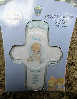 Precious Moments CALEB Baby Boy JESUS LOVES ME Personalized Cross Wall Hanging