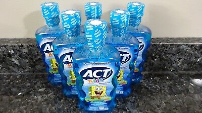 6 ACT Kids Ocean Berry SpongeBob Squarepants Anticavity Fluoride Rinse Mouthwash