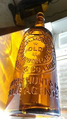 Yellow Amber Western Whiskey Fifth embossed JESSE MOORE & CO.LOUISVILLE, KY.