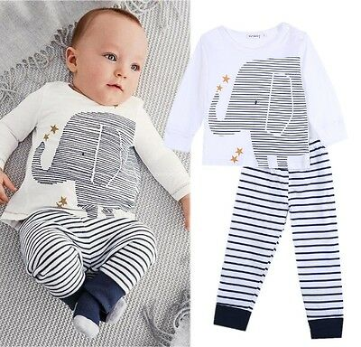 USA 2PCS Newborn Baby Boys Elephant Long Sleeve Tops Pants Home Outfit Clothes