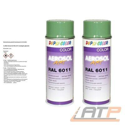 2x 400ml DUPLI COLOR AEROSOL ART RAL 6011 RESEDAGRÜN GLANZ LACKSPRAY SPRÜH LACK
