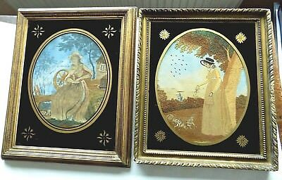 Pair Georgian Silkwork Pictures Nursery Rhymes Fabric Embroidery Antique Sampler