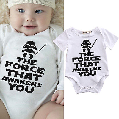 Newborn Baby Boy Star Wars Romper Jumpsuit Bodysuit Babygrows Clothes Outfits