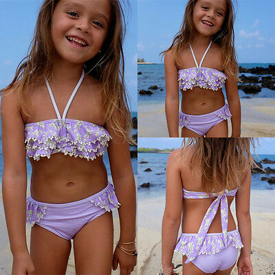 AU Kid Baby Girls Flower Tankini Swimsuit Swimwear Beachwear Bikini Set Bathing