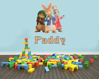Personalised Peter Rabbit Inspired Wall Art Sticker Decal Benjamin Lily