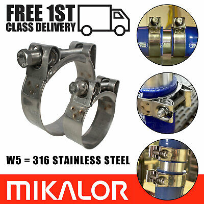 Pack of 2 Mikalor W5 316 Stainless Steel Heavy Duty Clamp Exhaust Turbo Car Clip