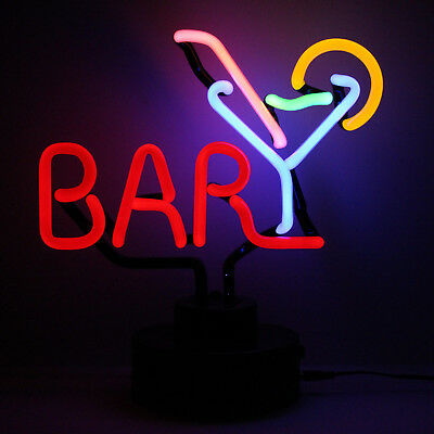 Neon Bar Sign NOT LED BAR MARTINI Cocktails Light Desk Lamp Sculpture 29CM Tall!