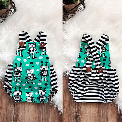 Newborn Baby Boy Girl Backless Strap Romper Jumpsuit Summer Clothes Outfit 0-18M