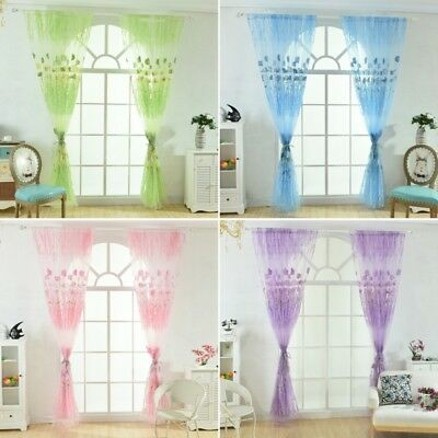 Door Window Curtain Floral Tulle Voile Drape Panel Sheer Scarf Valances-Divider