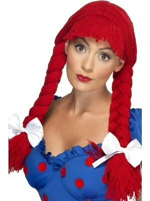 Red Rag Doll Wig Ladies Plaited + Bows Fancy Dress Costume Accessory