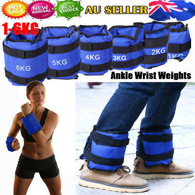 1 - 6kg Adjustable Ankle Wrist Weights Strap GYM Equipment Yoga Fitness Training