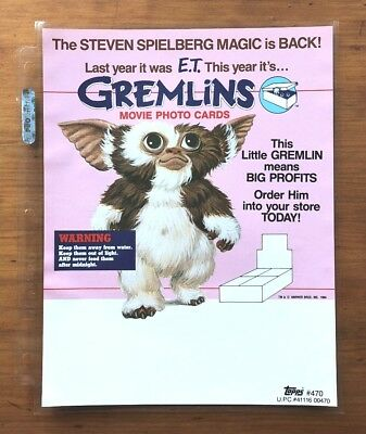 1984 Topps Gremlins Trading Cards and Stickers - Dealer Sell Sheet