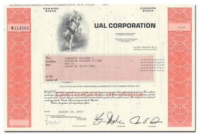 UAL Corporation Stock Certificate (United Air Lines)