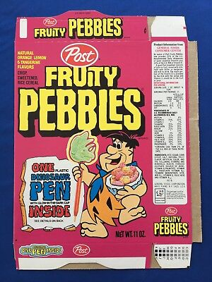 1976 Post Fruity Pebbles Flintstones New Unused Cereal Box Flat Dinosaur Pens