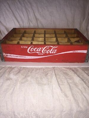 Rare Vintage 1977 Coca Cola Wooden Soda Crate, 24 Slot, Red and White Antique