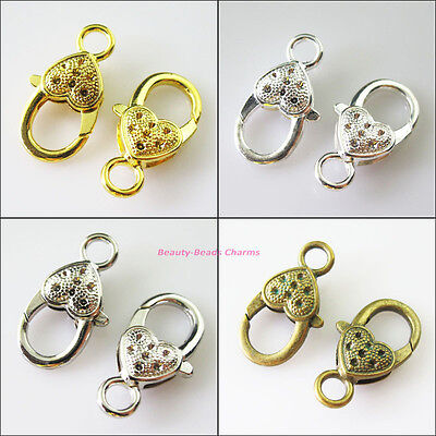 5Pcs Heart Lobster Clasps Connectors Gold Dull Silver Bronze Plated 14x27mm