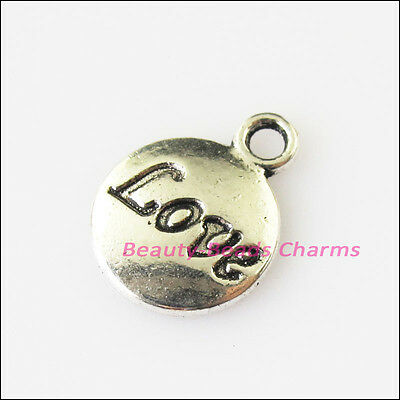 8Pcs Antiqued Silver Tone Round Love Words Charms Pendants 11.5x15.5mm