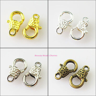 10Pcs Tiny Lock Lobster Clasps Connector Gold Dull Silver Bronze Plated 7x11.5mm