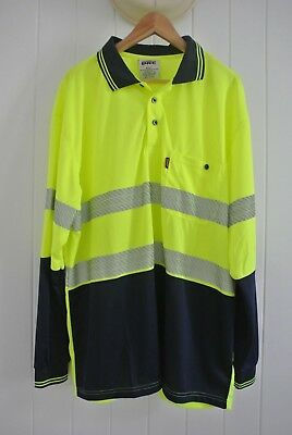 DNC Tradie Work Shirt SZ 4XL Navy Yellow Green Work Wear Outdoor Tape Light