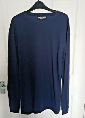 Mens CAMPRI Thermal Sports Baselayer Top Long Sleeve 2XL Navy Blue