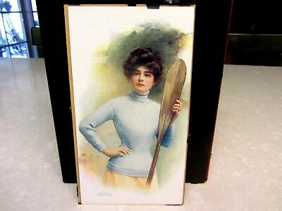 1907 National Candy Co. Canoe Girl Chateau Chocolates Advertising Hanger