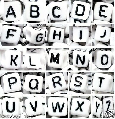 100 pcs alphabet black letter on white beads from A to Z, cube, 6, 7, 8, 10 mm