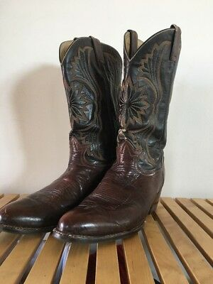 Tony Lama Brown Thick Leather Vintage Tall Cowboy Boots Sz 11 D