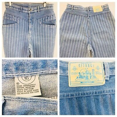 Vtg 80s 90s Gitano Limited Edition High Waist Mom Jeans 16 Light Tapered Striped
