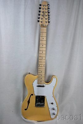 Pick It-New 12 String Semi-Hollow Tele Electric Guitar-Blue, Natural,White