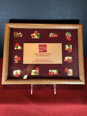 Coca-Cola 12 YEARS OF CHRISTMAS Framed Pin Display Haddon  Sunblum