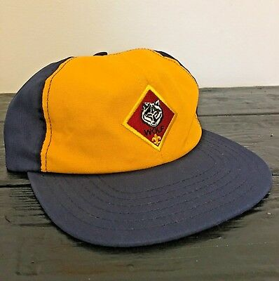 Cub Scout Wolf Hat Blue Yellow Cap BSA Youth Hat, Adjustable S/M Small Medium