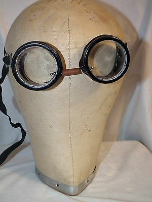 Vintage  Safety Motorcycle Steampunk Goggles Glasses