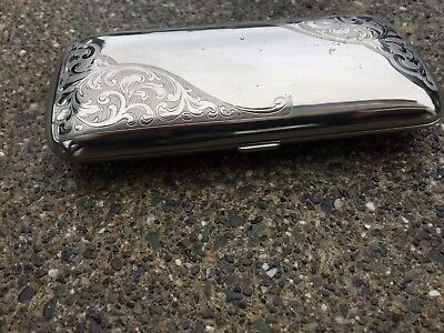 Elegant Vtg Ornate Silver Plated Eye Glasses Case marked Germany, Clamshell