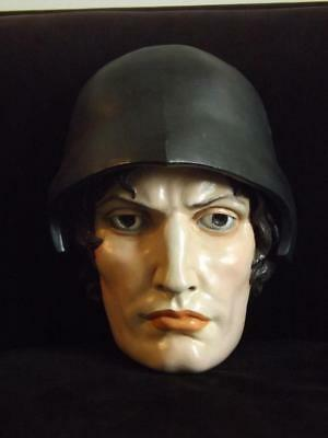 Ceramic MIlitary Antique Carousel Man Mask Bust Helmet Wall  16x11x9 Signed