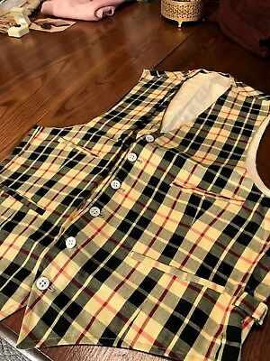FAB 1930/40's Plaid Vest w/Metal Side Buckles & Straps / Awesome / Yellow/ Red