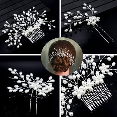 3PCS/Set Wedding Tiara Pearl Hairpin Bridal Headpiece Head Clip Hair Comb