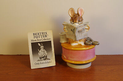"""Tailor of Gloucester"" Beatrix Potter Rotating Music Box , Hand Painted, 1978"