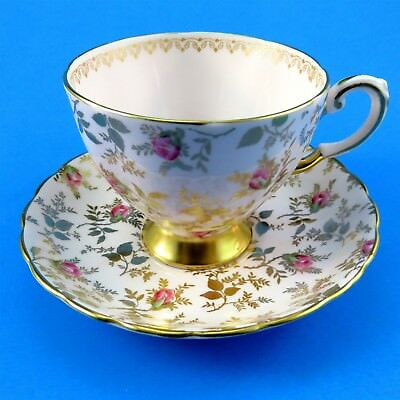 Rose and Gold Chintz on Light Pink Tuscan Tea Cup and Saucer Set
