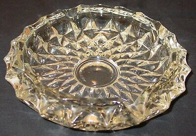 "Antique 1940's Era Yellowish Molded Pressed Glass Ashtray - 7 1/4"" Dia X 1 3/4"""