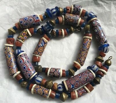 Old Venetian African Trade Bead Multi Glass Stripes Cobalt Rust Canes Necklace