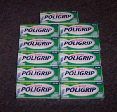 11 New .75 Oz Super Poligrip Denture Adhesive Cream  Strong All-Day Hold No Zinc