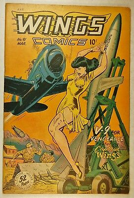 "Wings Comics #91 (March 1948, Fiction House) ""V-9 for Vengance"" Good Girl Cover"