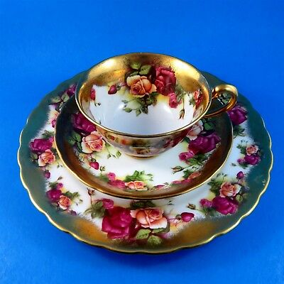 Royal Chelsea Golden Rose Tea Cup, Saucer and Plate Trio Set