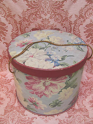 VTG 1940s ROMANTIC COTTAGE SHABBY CHIC *Fabric LITHO HATBOX w/PINK PEONIES Flwrs