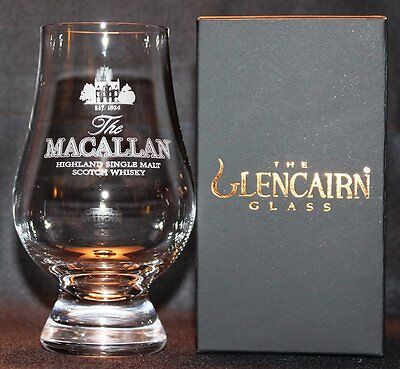 Macallan Glencairn Whisky Tasting Glass W/ Black & Gold Presentation Box