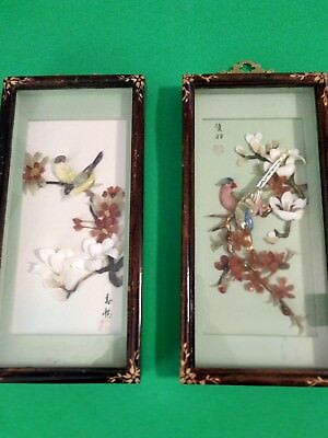 Vintage Bird Blossom Shell Carving Pictures Talien China Art Shadow Box Signed