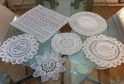 Job Lot Of 6 White Vintage Hand Crocheted & Cotton Lace Doilies / Table Mats