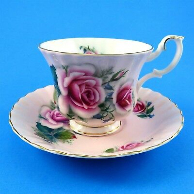 Pretty Pink Roses on Pale Pink Background Royal Albert Tea Cup and Saucer Set